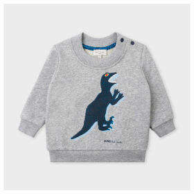 Babies Grey Marl 'Dino' Print Sweatshirt
