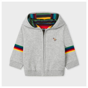 Babies' Grey 'Zebra' Logo And Stripe Reversible Hoodie