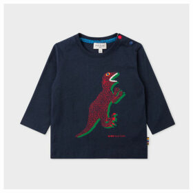 Babies Dark Navy 'Dino' Print Long-Sleeve T-Shirt