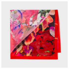 Women's Red And Pink Floral Valentines Print Sheer Silk Scarf