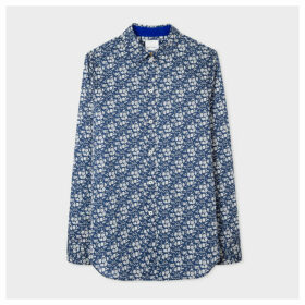Women's Slim-Fit Navy 'Liberty Floral' Print Cotton Shirt