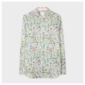 Women's Slim-Fit White 'Liberty Floral' Print Cotton Shirt