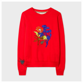 Women's Red 'Scattered Floral & Beetle' Embroidered Cotton Sweatshirt
