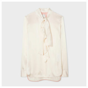 Women's Cream Satin Silk Tuxedo Shirt With Ruffle And Bow Detail