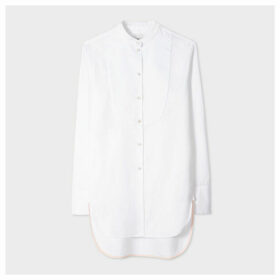 Women's Long White Evening Shirt With Textured Bib