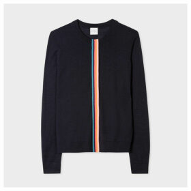 Women's Dark Navy Merino Wool Cardigan With 'Artist Stripe' Detail
