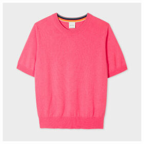 Women's Pink Short-Sleeve Cashmere Sweater