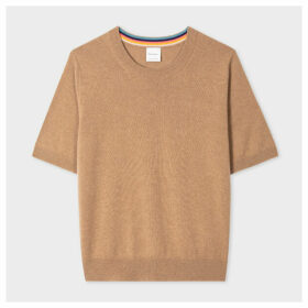 Women's Tan Short-Sleeve Cashmere Sweater