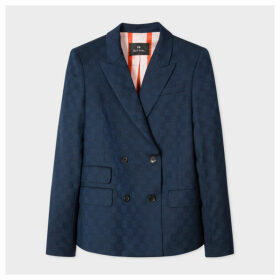 Women's Navy Jacquard Check Wool-Stretch Double-Breasted Blazer