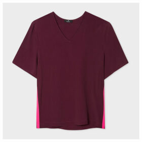 Women's Burgundy V-Neck Silk-Blend T-Shirt