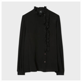 Women's Black Silk Shirt with Ruffle Details