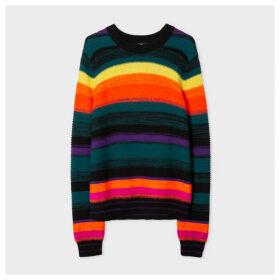 Women's Multi-Coloured Stripe Ribbed Wool-Blend Sweater