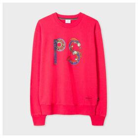Women's Fuchsia 'Embellished PS' Print Cotton Sweatshirt