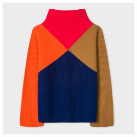 Women's Colour-Block Wool-Blend Funnel Neck Sweater
