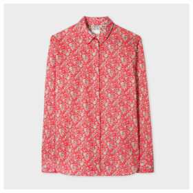 Women's Red 'Liberty Floral' Print Cotton Shirt
