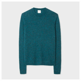 Women's Petrol Blue Ribbed Mohair And Alpaca-Blend Sweater