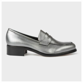 Women's Silver Leather 'Wolf' Penny Loafers