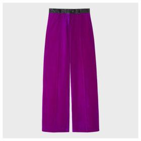 Women's Purple Parallel Leg Tuxedo Velvet Trousers With Satin Details