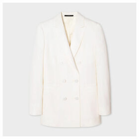 Women's Ivory Double-Breasted Tuxedo Wool Blazer
