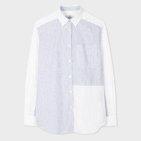 Women's Grey Prince Of Wales Motif Cotton-Blend Wide Leg Trousers