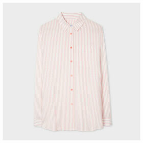 Women's Pink And White Pinstripe Long Shirt