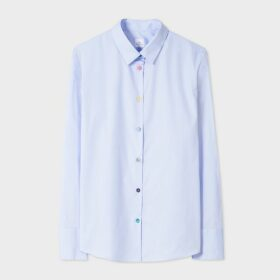 Women's Light Blue Stretch-Cotton Shirt With 'Swirl' Cuff Lining