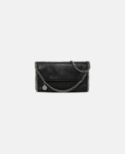 Stella McCartney Black Black Falabella Shaggy Deer Mini Bag, Women's, Size OneSize