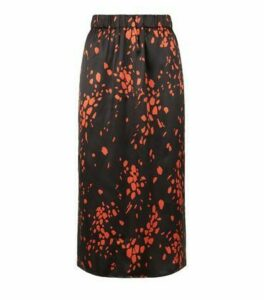 Influence Red Satin Animal Print Midi Skirt New Look