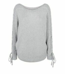 Cameo Rose Grey Lace Up Sleeve Jumper New Look