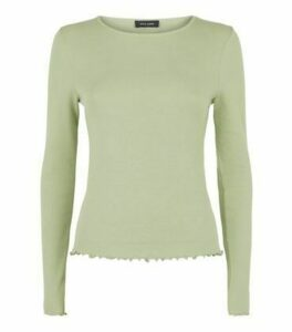 Light Green Frill Ribbed Long Sleeve Top New Look