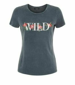 Petite Dark Grey Wild Rose Slogan T-Shirt New Look