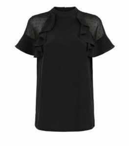 Black Textured Spot Frill Blouse New Look