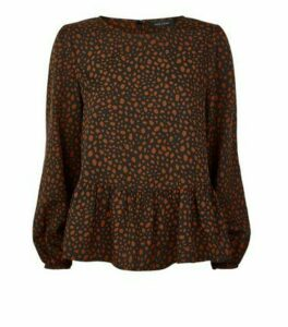 Black Animal Print Peplum Blouse New Look