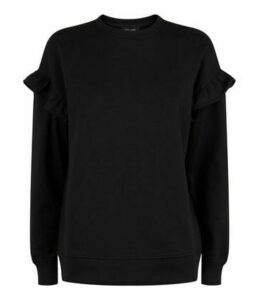 Black Frill Sleeve Sweatshirt New Look