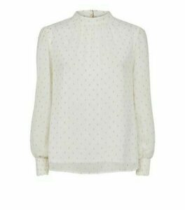 Off White Metallic Spot High Neck Blouse New Look