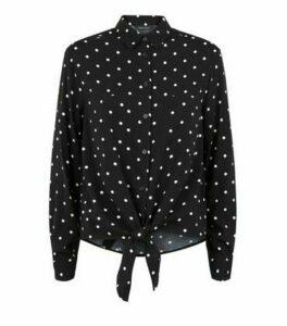 Black Spot Tie Front Shirt New Look