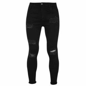 Nimes X Distress Skinny Jeans Mens - Jet Black