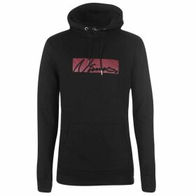 Nimes Box Script Over the Head Hoodie - Black/Red
