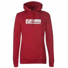 Nimes Box Script Over the Head Hoodie - Red/White