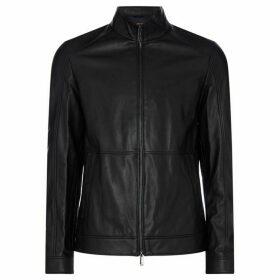 Michael Kors Nappa Leather Racer Jacket - Black