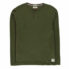 TOMMY JEANS Long Sleeve Henley T Shirt - Forest Night