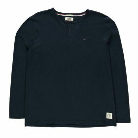 TOMMY JEANS Long Sleeve Henley T Shirt - Black Iris