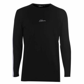 Nimes Stripe Long Sleeve T Shirt Mens - Black/White