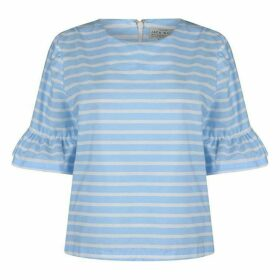 Jack Wills Hiddenhurst Frill Sleeve Top - Blue