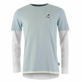 Fabric Graphic Top Mens - Pale Blue/White