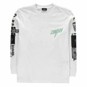 Diesel Just Long Sleeve T Shirt - White K100