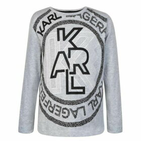 Karl Lagerfeld Skwl Circle Long Sleeved T Shirt - Gris Chine