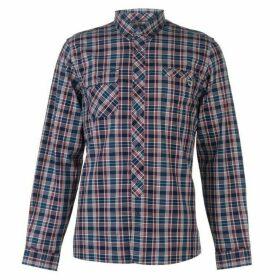Pretty Green Langholme Long Sleeve Check Shirt - NAVY