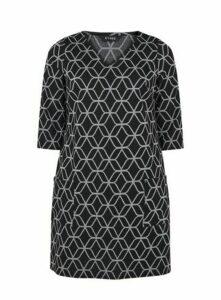 Black And Grey Print Shift Dress, Grey