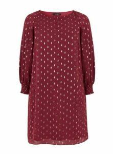 Red Foil Spot Print Dress, Berry